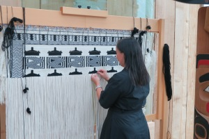 Beautiful handweaving based on patterns learned by generations  being taught at the loom.